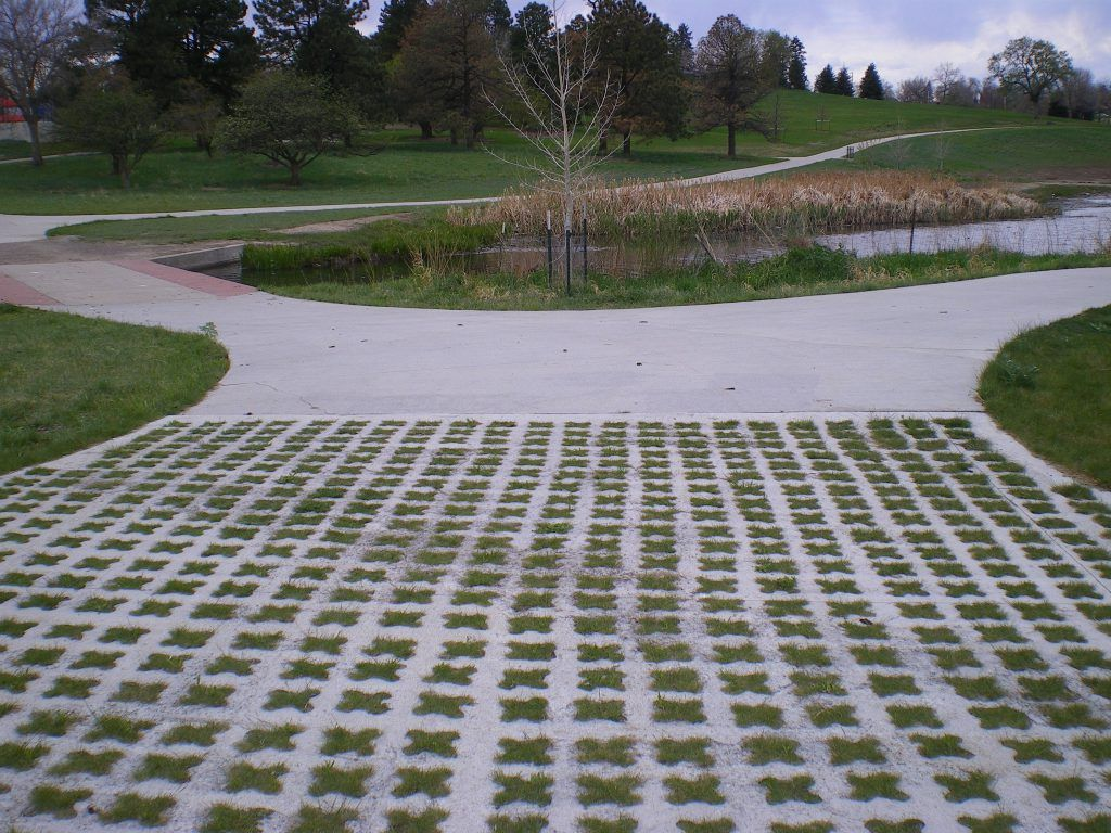 Grasscrete by Bomanite was the ideal choice, pictured here, to allow water to pass freely through the site, while maintaining structural integrity and preserving visual appeal.