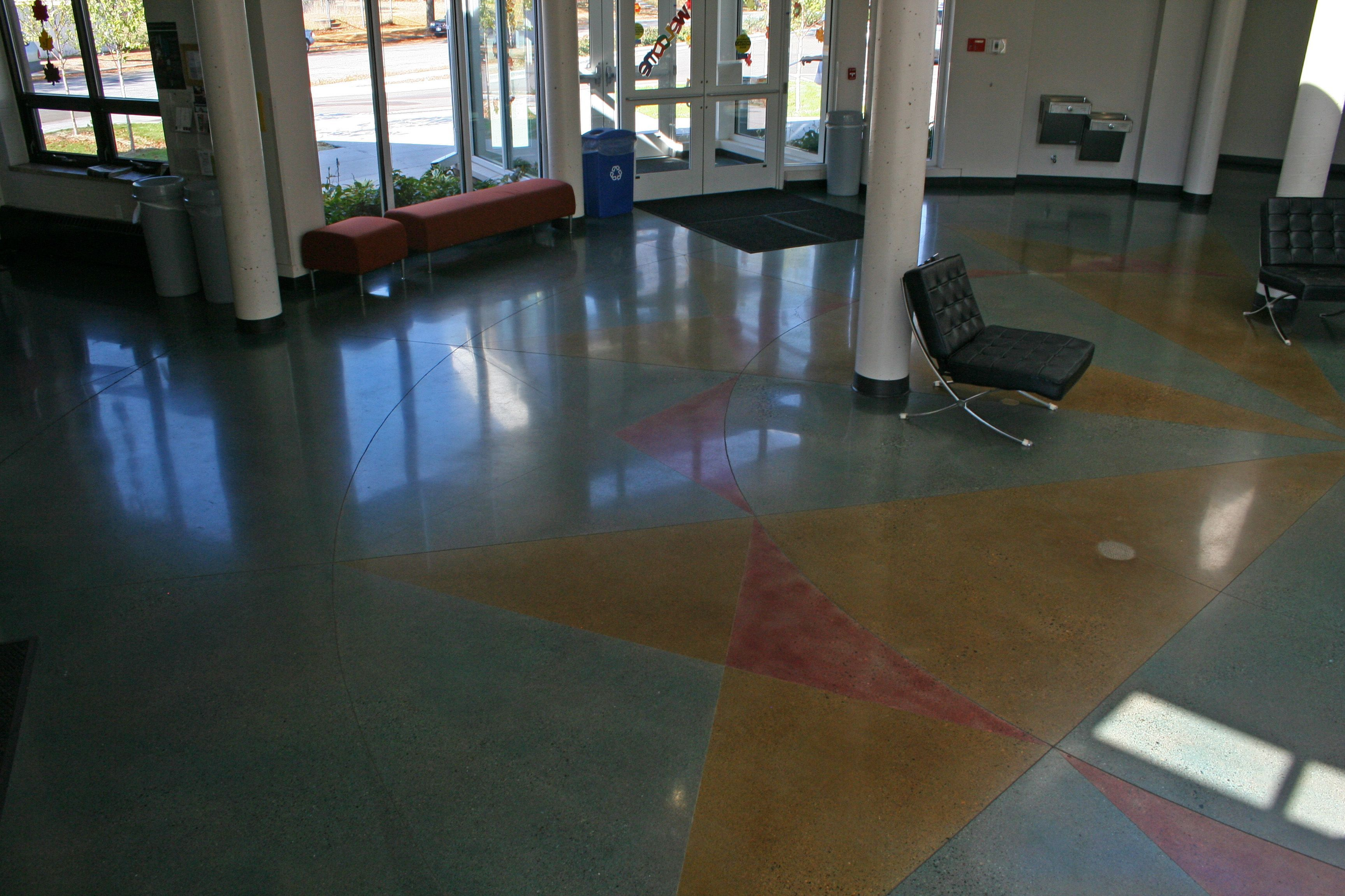 floors college polishing colorado coloradomtncollege mountain bomanite patene teres interior showroom custom concrete