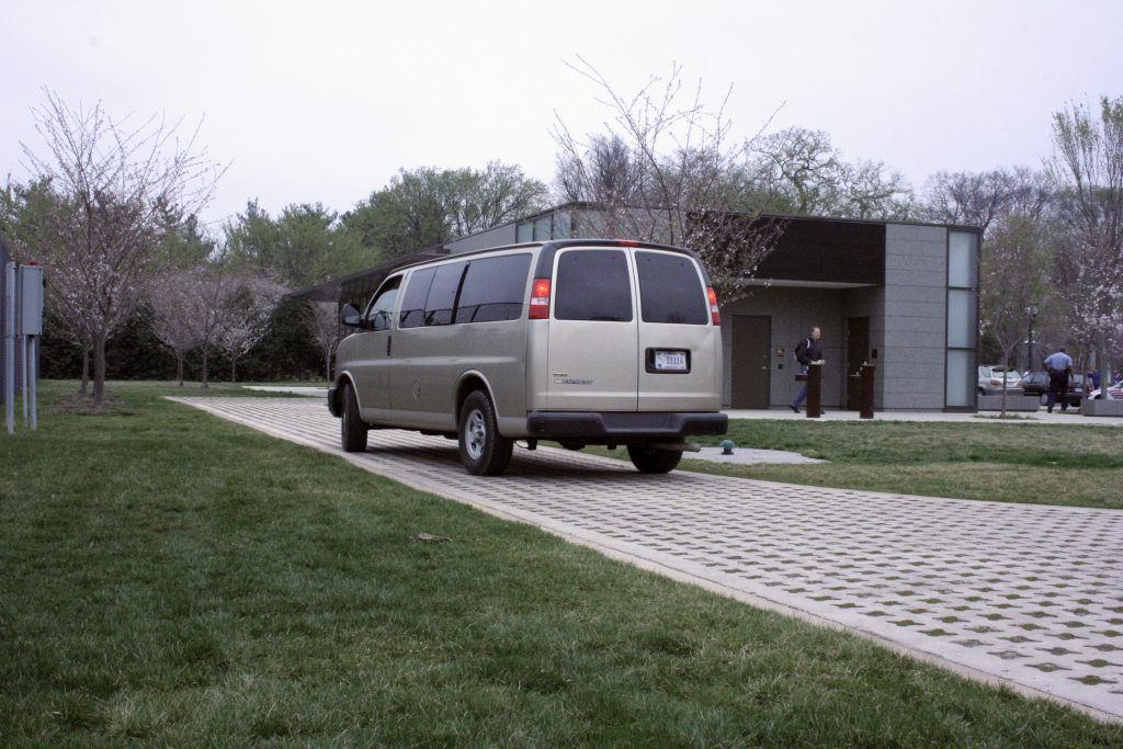 Bomanite Grasscrete was used here as a green alternative to a standard concrete surface and balances well with the surrounding landscape while providing superior structural integrity for necessary vehicle access.