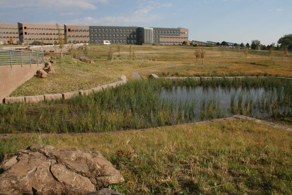 Installed by Colorado Hardscapes, this Grasscrete pervious pavement system by Bomanite has helped the National Renewable Energy Laboratory to have great success in reducing site runoff and maintaining pre-development hydrologic conditions.