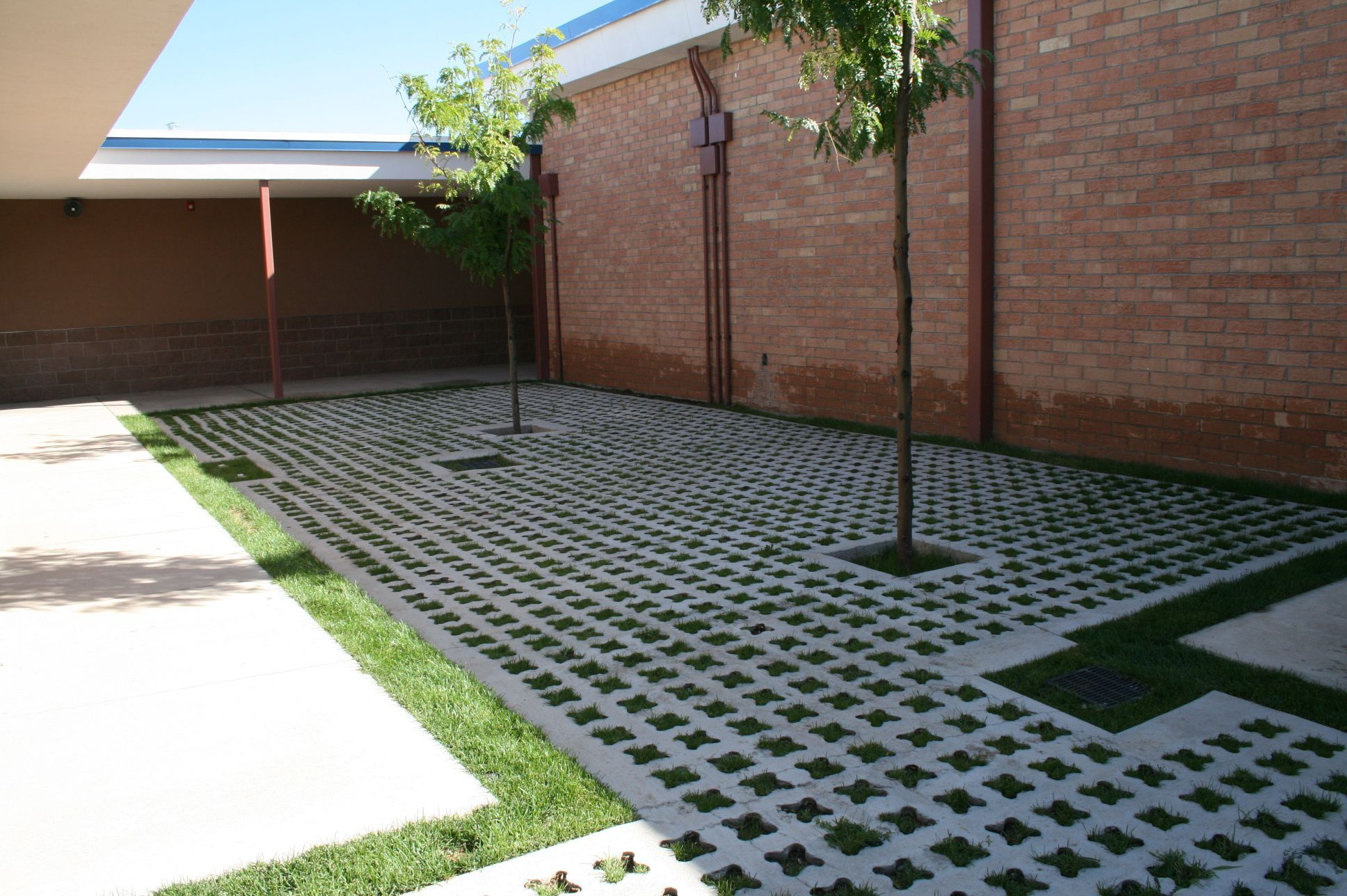 St. Mikes School - Entry Courtyard - Grasscrete Partially Concealed System For Stormwater Runoff