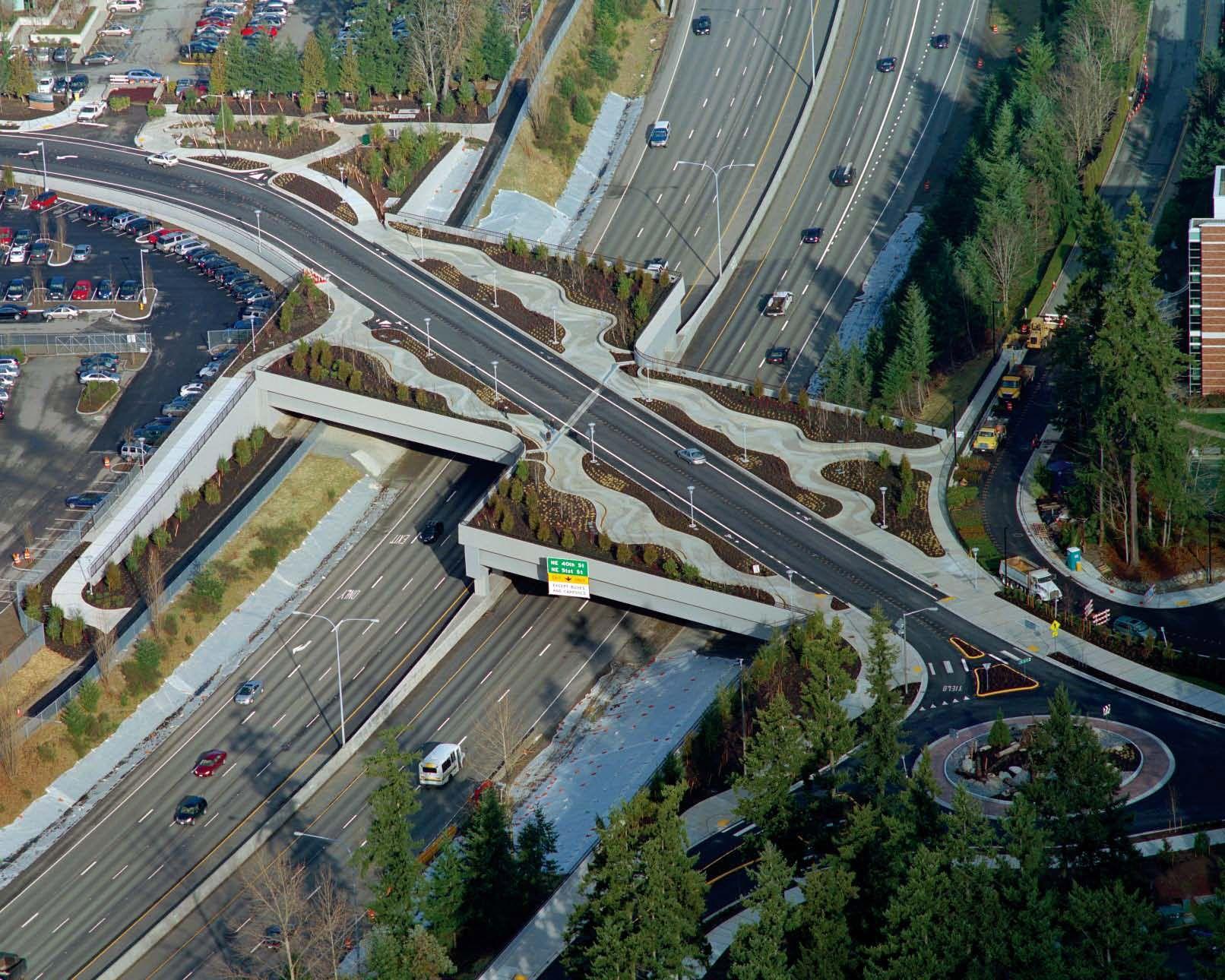 Washington NE 36th Street Bridge Roundabout - Bomanite Imprint Systems - Bomacron Creek Stone Pattern