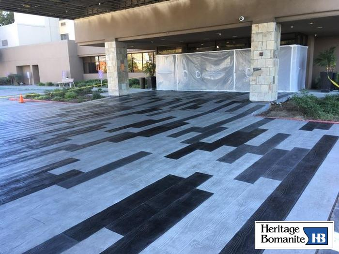 The Bomanite Imprint System was used here to create a decorative concrete hardscape entryway that is highly durable and exceptionally beautiful.