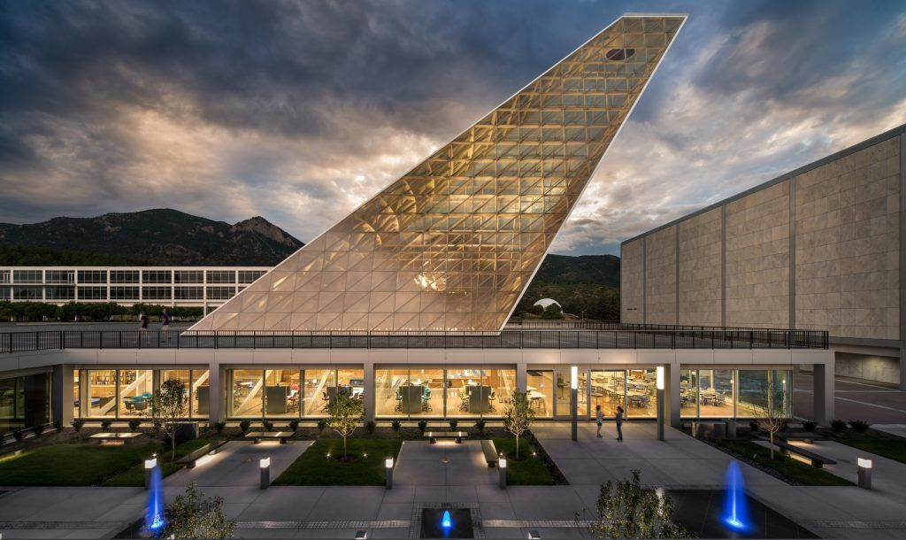 The USAFA Center for Character and Leadership Development in Colorado Springs features a beautiful decorative concrete courtyard that was created using the Bomanite Sandscape Texture Exposed Aggregate System.