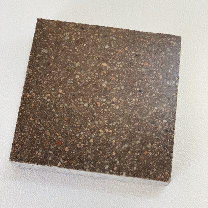 Bomanite Custom Polishing System using Malt Brown Patene Teres in a 3x3 sample.